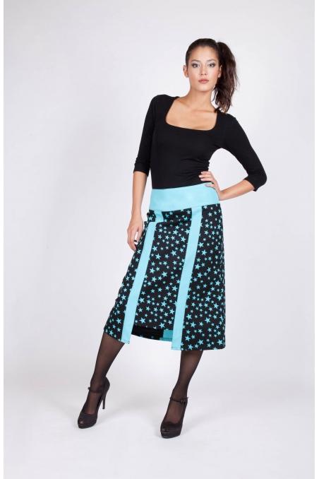 Jupe Heyta bleu recto vêtement originaux colorés coton styliste