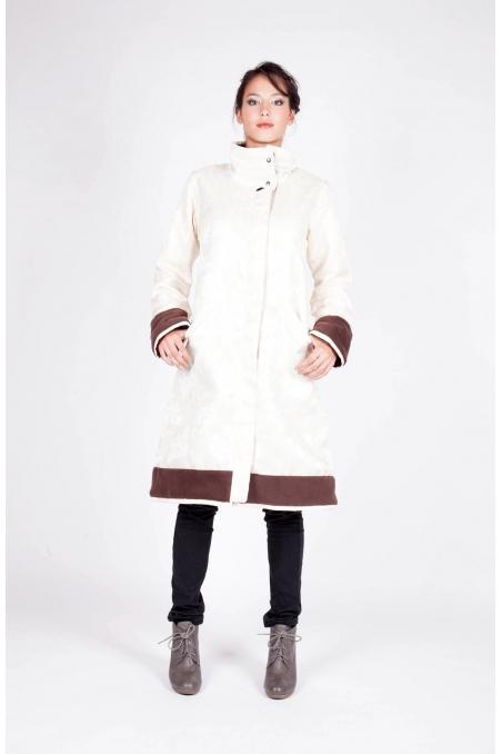 Manteau Golfama ecru recto vetement artisanal createur de mode