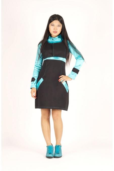 robe artia artisanale unique bleu noir recto